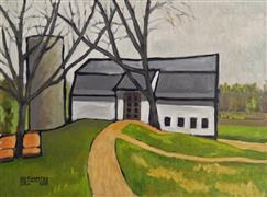 Architecture art,Impressionism art,Landscape art,Representational art,oil painting,Barn with Two Trees