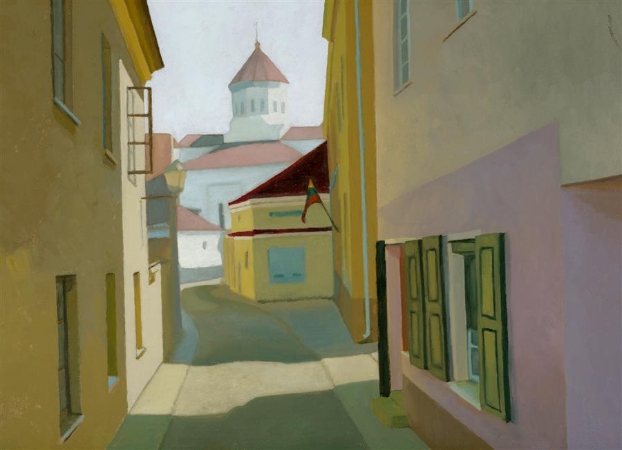 Original art for sale at UGallery.com | Vilnius, Lithuania by NANCY HERMAN | $500 | Oil painting | 9' h x 12' w | http://www.ugallery.com/oil-painting-vilnius-lithuania