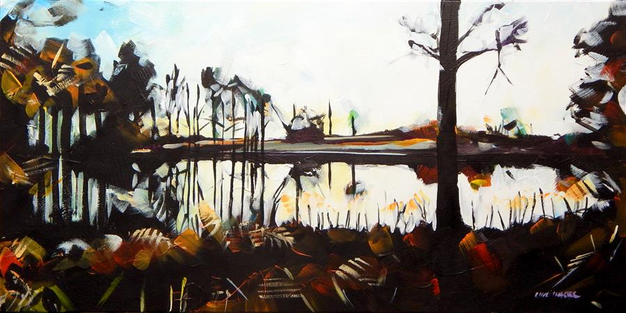 Original art for sale at UGallery.com | Pond Sunset by CHRIS WAGNER | $675 | Acrylic painting | 15' h x 30' w | http://www.ugallery.com/acrylic-painting-pond-sunset