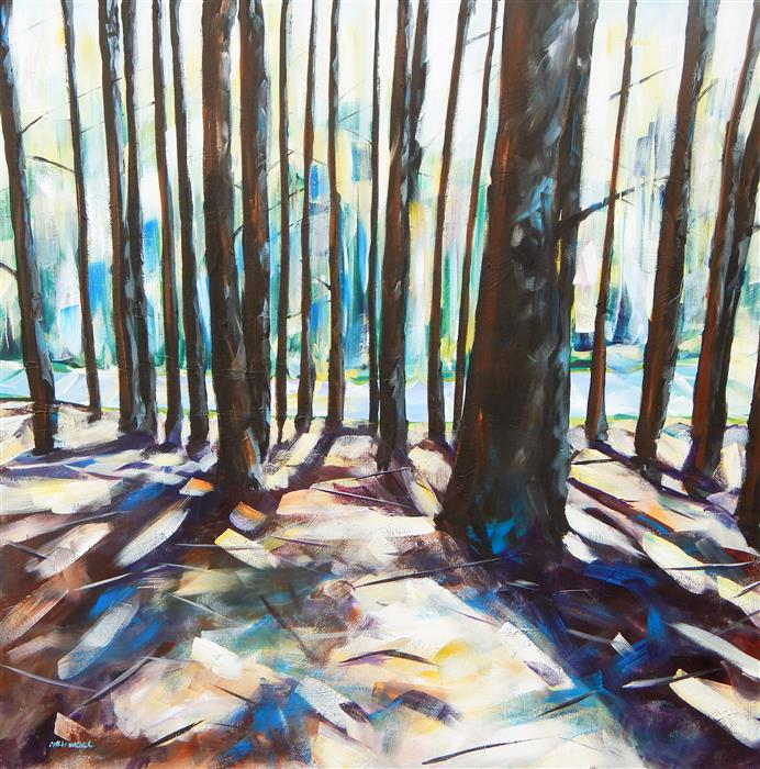 Original art for sale at UGallery.com | Pine Shadows 2 by CHRIS WAGNER | $2,775 | Acrylic painting | 48' h x 48' w | http://www.ugallery.com/acrylic-painting-pine-shadows-2