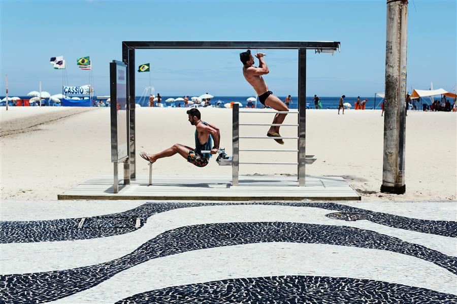 Discover Original Art by Maria Plotnikova | Morning Workout on Copacabana photography | Art for Sale Online at UGallery
