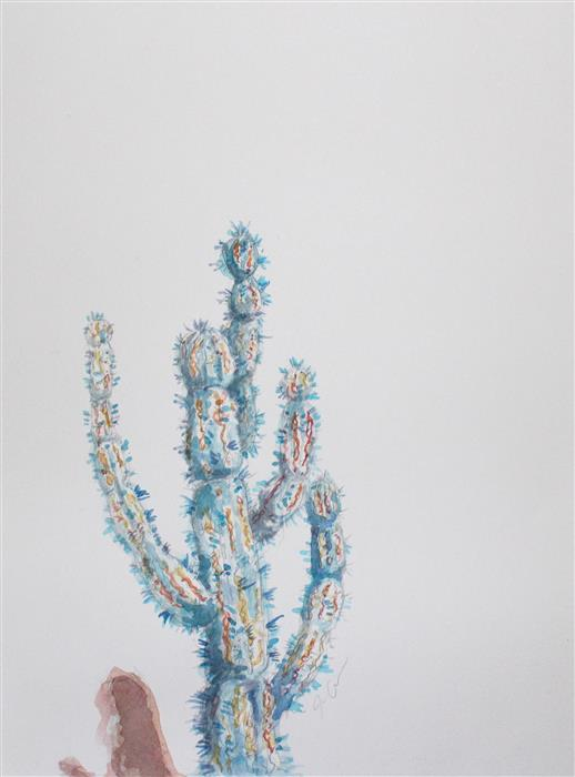 Discover Original Art by Jackie Graham | Blue Cactus watercolor painting | Art for Sale Online at UGallery