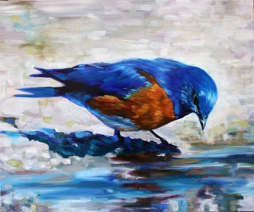 Discover Original Art by Joanne Evers | Western Bluebird oil painting | Art for Sale Online at UGallery