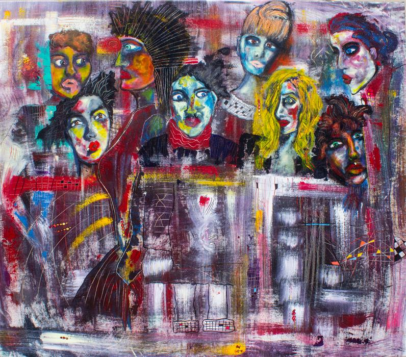 Original art for sale at UGallery.com | Who Am I in This Crowd by PENELOPE PRZEKOP | $3,800 | Acrylic painting | 41' h x 47' w | http://www.ugallery.com/acrylic-painting-who-am-i-in-this-crowd