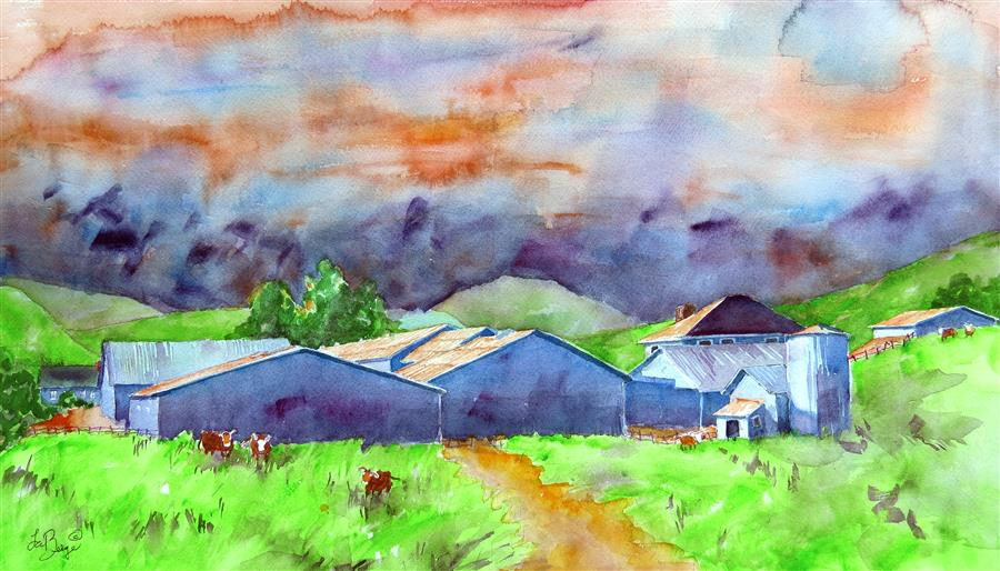 Discover Original Art by Nancy Muren | The Barn on the Way to... watercolor painting | Art for Sale Online at UGallery