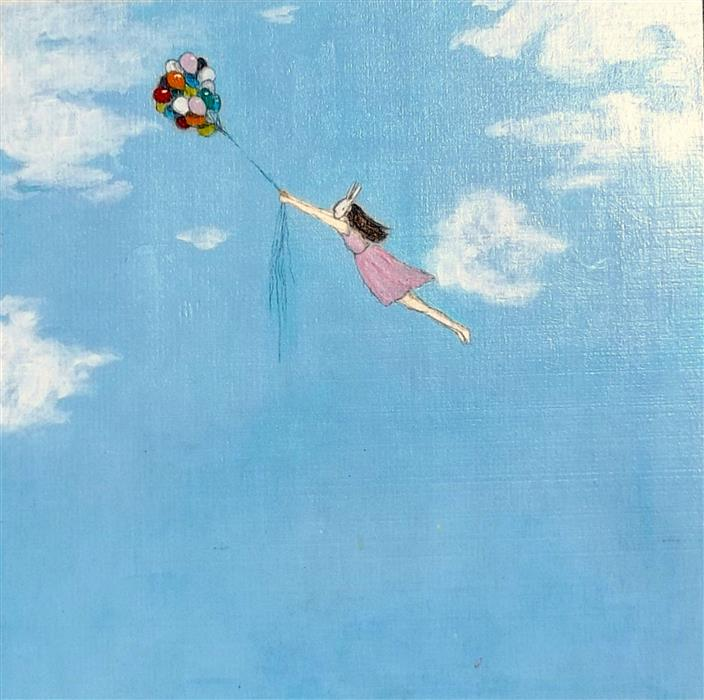 Original art for sale at UGallery.com | Up and Away by KAT SILVER | $350 | Acrylic painting | 10' h x 10' w | http://www.ugallery.com/acrylic-painting-up-and-away