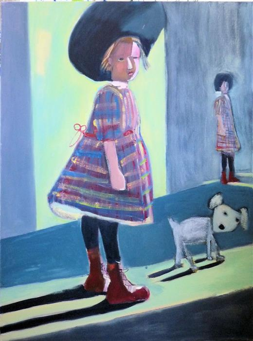 Original art for sale at UGallery.com | Little Student by CAROLYN SCHLAM | $3,450 | Oil painting | 40' h x 30' w | http://www.ugallery.com/oil-painting-little-student