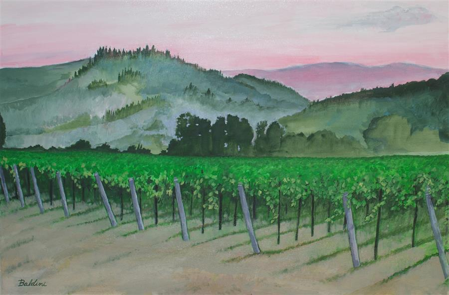 Discover Original Art by Cynthia Baldini | Vineyards near Castellina in Chianti #1 acrylic painting | Art for Sale Online at UGallery