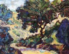 Impressionism art,Landscape art,Representational art,encaustic artwork,Mt. Diablo Road