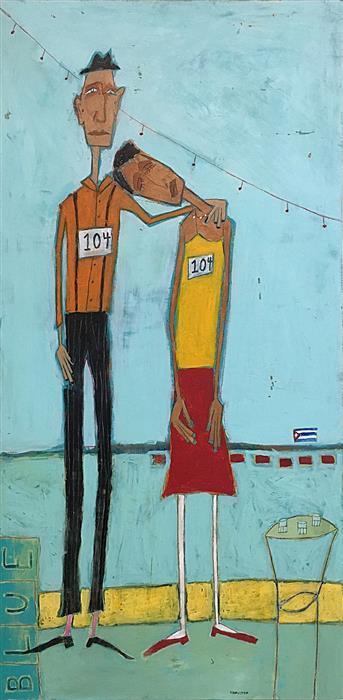 Original art for sale at UGallery.com | Dance Contest, Havana, 3am. by RICK HAMILTON | $1,775 | Acrylic painting | 48' h x 24' w | http://www.ugallery.com/acrylic-painting-dance-contest-havana-3am