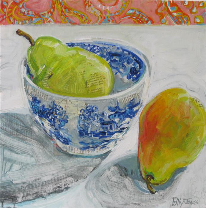Original art for sale at UGallery.com | Blue Willow Pear by POLLY JONES | $375 | Mixed media artwork | 14' h x 14' w | http://www.ugallery.com/mixed-media-artwork-blue-willow-pear