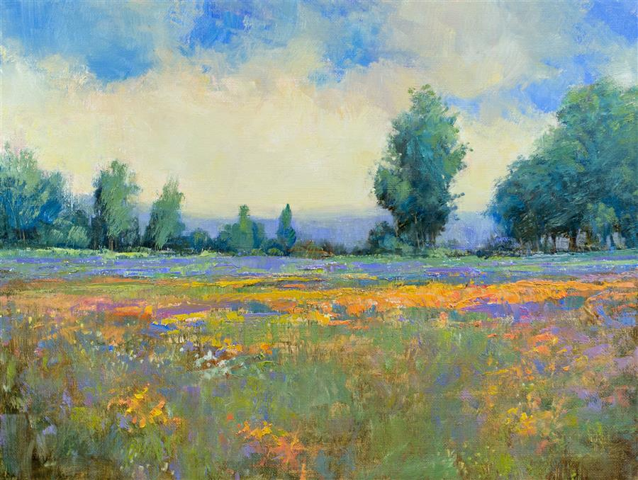 Original art for sale at UGallery.com | Wildflowers in Bloom by DON BISHOP | $650 | Oil painting | 12' h x 16' w | http://www.ugallery.com/oil-painting-wildflowers-in-bloom