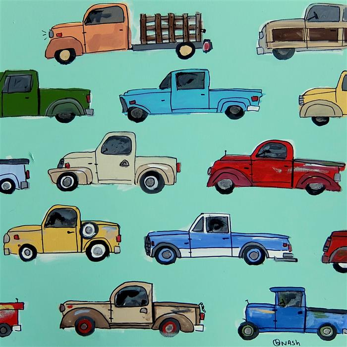 Discover Original Art by Brian Nash | Pickup Trucks acrylic painting | Art for Sale Online at UGallery