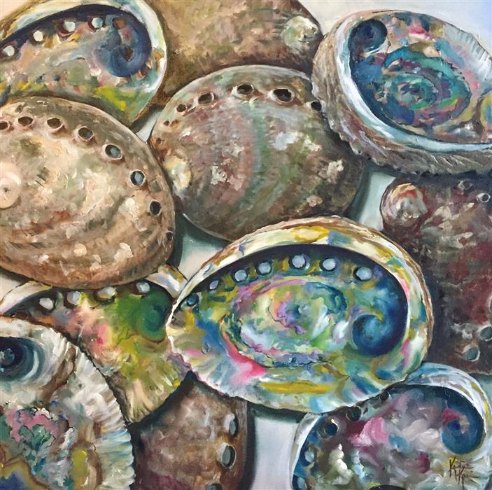 Discover Original Art by Kristine Kainer | Abalone Shells oil painting | Art for Sale Online at UGallery