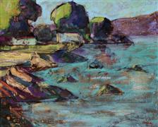 Impressionism art,Seascape art,Representational art,encaustic artwork,Berkeley Marina, Shorebird Park