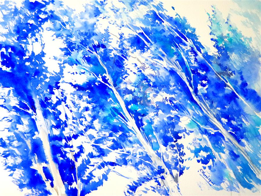Original art for sale at UGallery.com | Ultramarine Poplars by SUREN NERSISYAN | $450 | Watercolor painting | 18' h x 24' w | http://www.ugallery.com/watercolor-painting-ultramarine-poplars