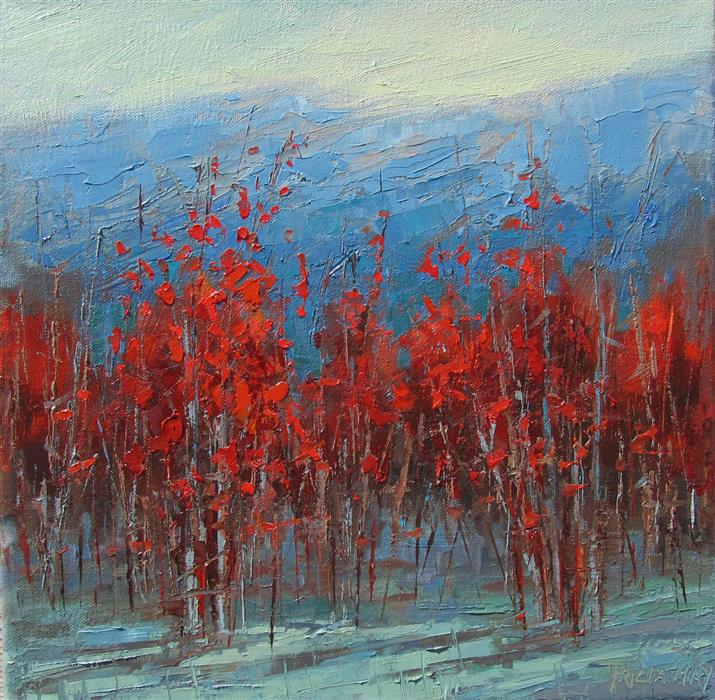 Discover Original Art by Tricia May | Crimson Landscape #2 oil painting | Art for Sale Online at UGallery