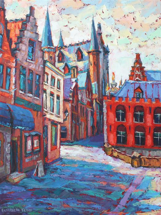 Original art for sale at UGallery.com | Bruges Street View by ELIZABETH ELKIN | $1,475 | Oil painting | 24' h x 18' w | http://www.ugallery.com/oil-painting-bruges-street-view