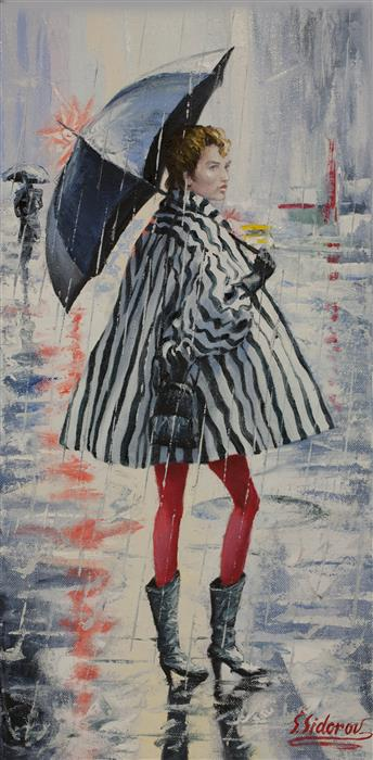 Discover Original Art by Stanislav Sidorov | Girl in Striped Rain Coat oil painting | Art for Sale Online at UGallery