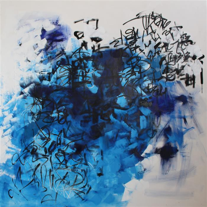 Original art for sale at UGallery.com | Blue Springs by MIA TARDUCCI | $16,925 | Oil painting | 88' h x 88' w | http://www.ugallery.com/oil-painting-blue-springs