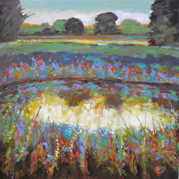 Original art for sale at UGallery.com | Summer Pond with Flowers by KIP DECKER | $2,975 | Acrylic painting | 36' h x 36' w | http://www.ugallery.com/acrylic-painting-summer-pond-with-flowers