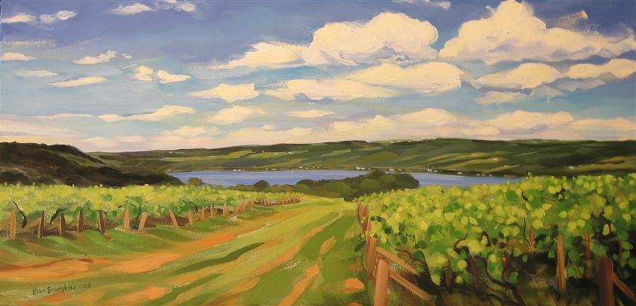 Discover Original Art by Ellen Bradshaw | Summertime Vineyards, Keuka Lake oil painting | Art for Sale Online at UGallery