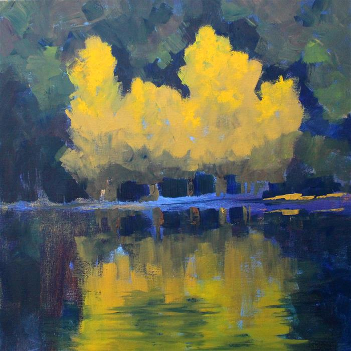 Discover Original Art by Nancy Merkle | Aspen Reflection acrylic painting | Art for Sale Online at UGallery