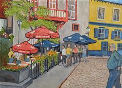 Architecture art,Impressionism art,Travel art,Representational art,oil painting,Canadian Street