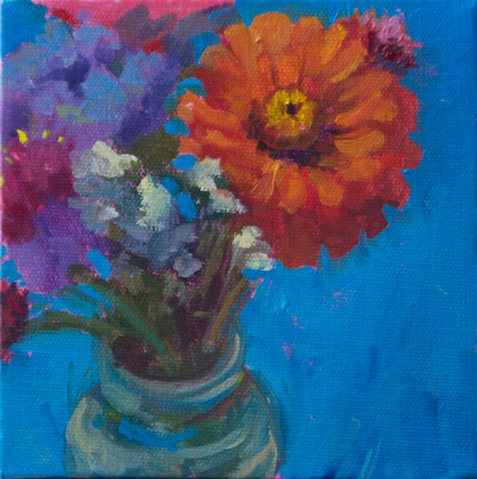 Original art for sale at UGallery.com | Blue Button Bouquet by JANET HOWARD-FATTA | $275 | Oil painting | 7.5' h x 7.5' w | http://www.ugallery.com/oil-painting-blue-button-bouquet