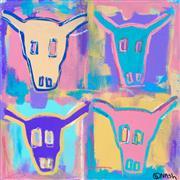 Pop art,Western art,Representational art,acrylic painting,Steer Skulls