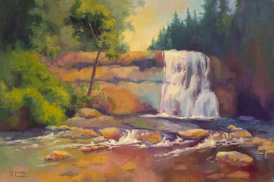 Discover Original Art by Karen E Lewis | Falls and Sunglow  oil painting | Art for Sale Online at UGallery