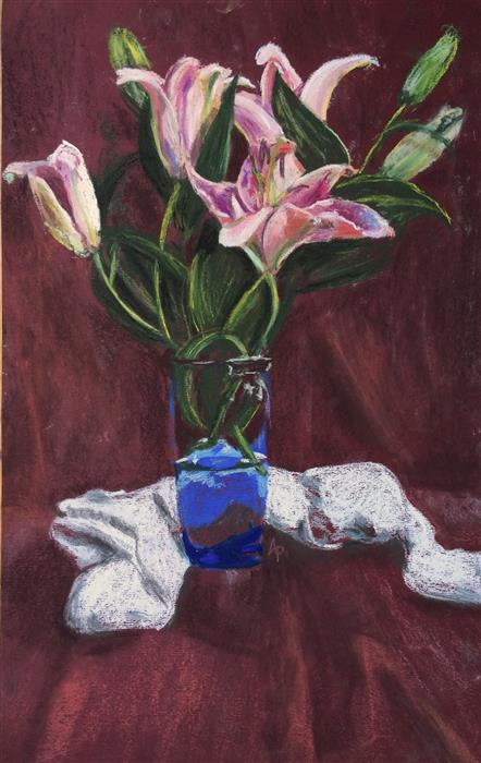 Original art for sale at UGallery.com | Lily Still Life by ANASTASIA PIMENTEL | $375 | Pastel artwork | 19.5' h x 12' w | http://www.ugallery.com/pastel-artwork-lily-still-life