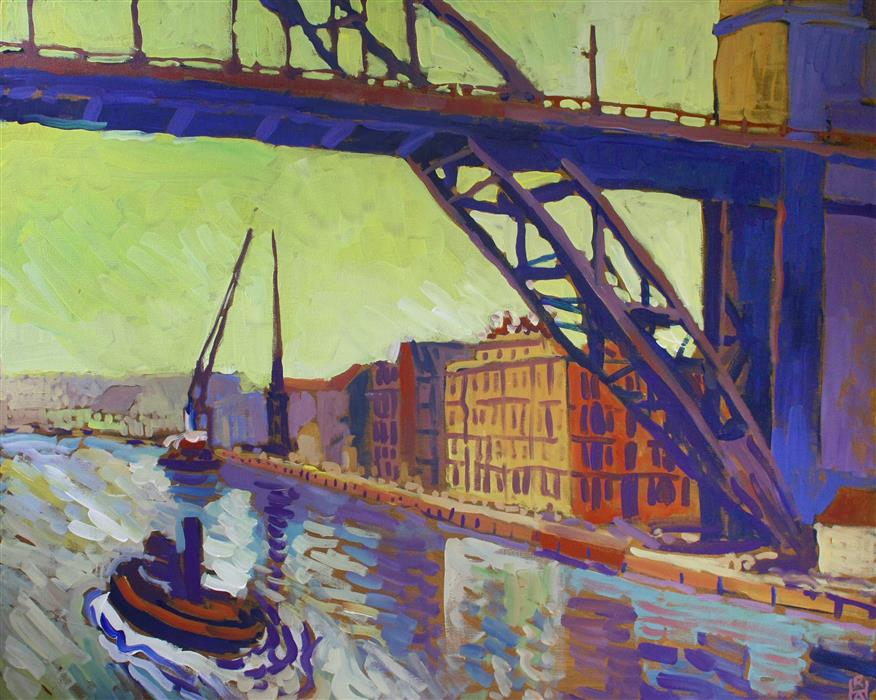 Discover Original Art by Robert Hofherr | In the Shadow of the Bridge acrylic painting | Art for Sale Online at UGallery