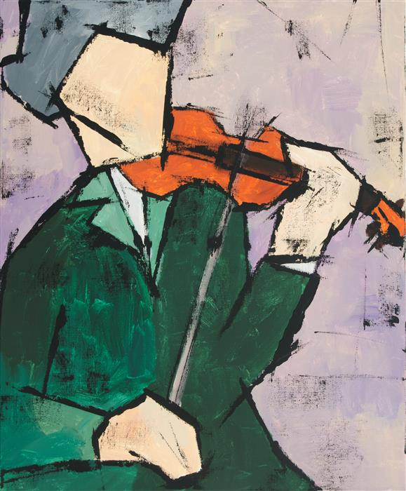 Original art for sale at UGallery.com | Violinist by TANYA GRABKOVA | $975 | Acrylic painting | 24' h x 20' w | http://www.ugallery.com/acrylic-painting-violinist