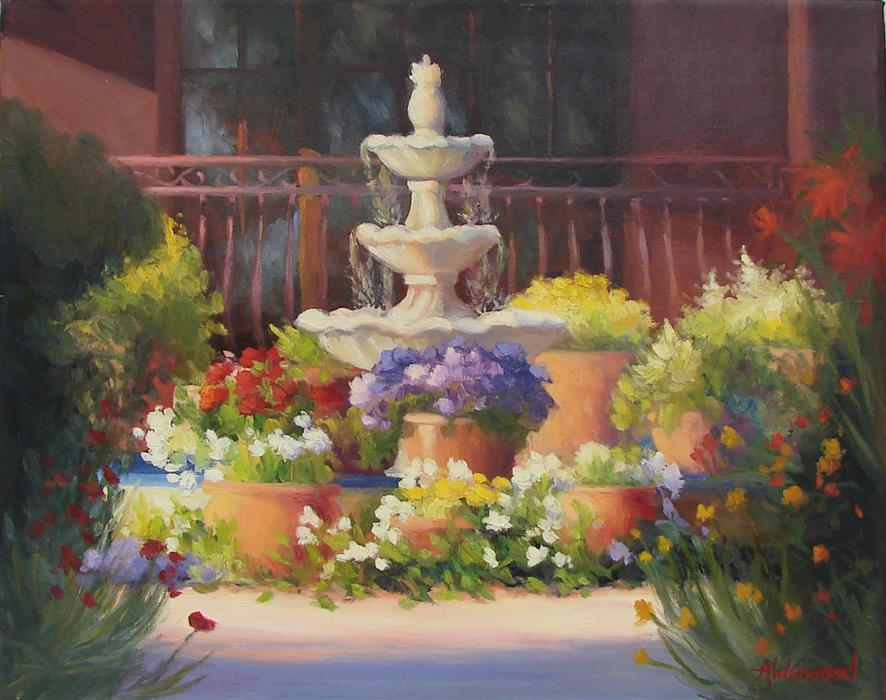 Discover Original Art by Sherri Aldawood | Hacienda Fountain oil painting | Art for Sale Online at UGallery