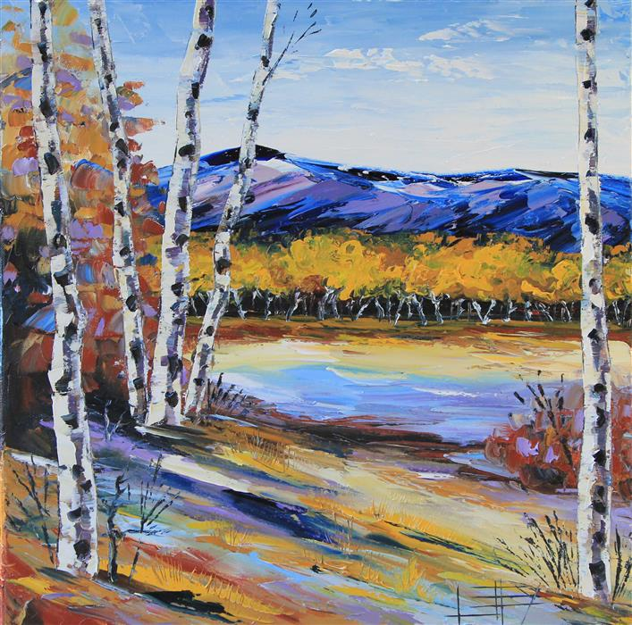 Original art for sale at UGallery.com | Beautiful Birch by LISA ELLEY | $675 | Oil painting | 20' h x 20' w | http://www.ugallery.com/oil-painting-beautiful-birch