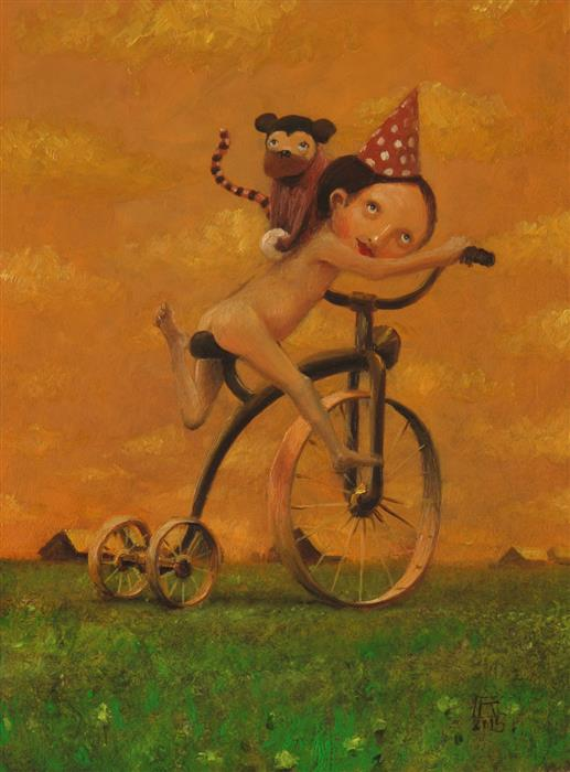 Original art for sale at UGallery.com | Naked Man & Monkey by KRZYSZTOF IWIN | $1,050 | Oil painting | 15.75' h x 11.81' w | http://www.ugallery.com/oil-painting-naked-man-monkey