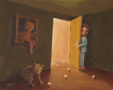 Fantasy art,Surrealism art,Representational art,acrylic painting,Attic Room
