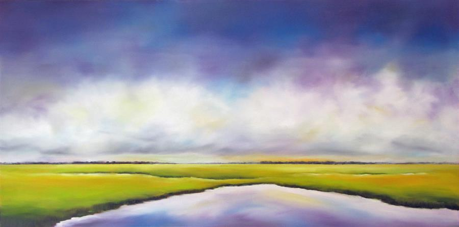 Original art for sale at UGallery.com | Purple Sky Marsh II by NANCY HUGHES MILLER | $975 | Oil painting | 18' h x 36' w | http://www.ugallery.com/oil-painting-purple-sky-marsh-ii