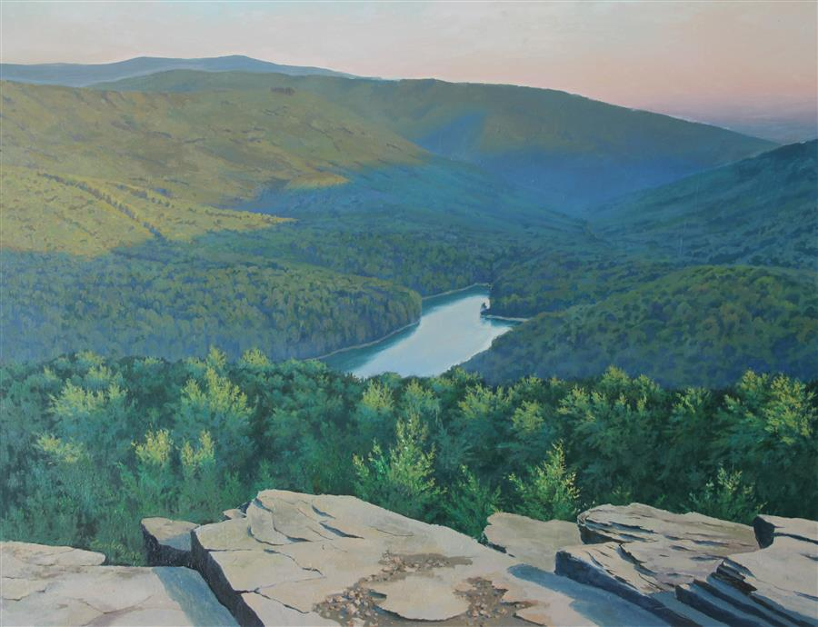 Original art for sale at UGallery.com | Mountain Lake by STEFAN CONKA | $1,725 | Oil painting | 27.7' h x 35.5' w | http://www.ugallery.com/oil-painting-mountain-lake-44169