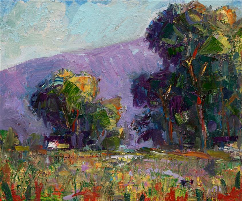 Original art for sale at UGallery.com | Coyote Point Wildflowers by JAMES HARTMAN | $800 | Oil painting | 20' h x 24' w | http://www.ugallery.com/oil-painting-coyote-point-wildflowers