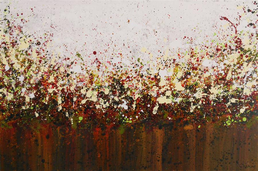 Original art for sale at UGallery.com | Prairie Blossoms by LISA CARNEY | $1,025 | Acrylic painting | 24' h x 36' w | http://www.ugallery.com/acrylic-painting-prairie-blossoms