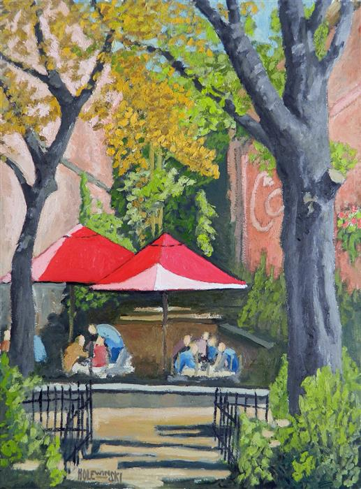 Original art for sale at UGallery.com | Winter Garden Cafe by ROBERT  HOLEWINSKI | $1,475 | Oil painting | 23' h x 17' w | http://www.ugallery.com/oil-painting-winter-garden-cafe