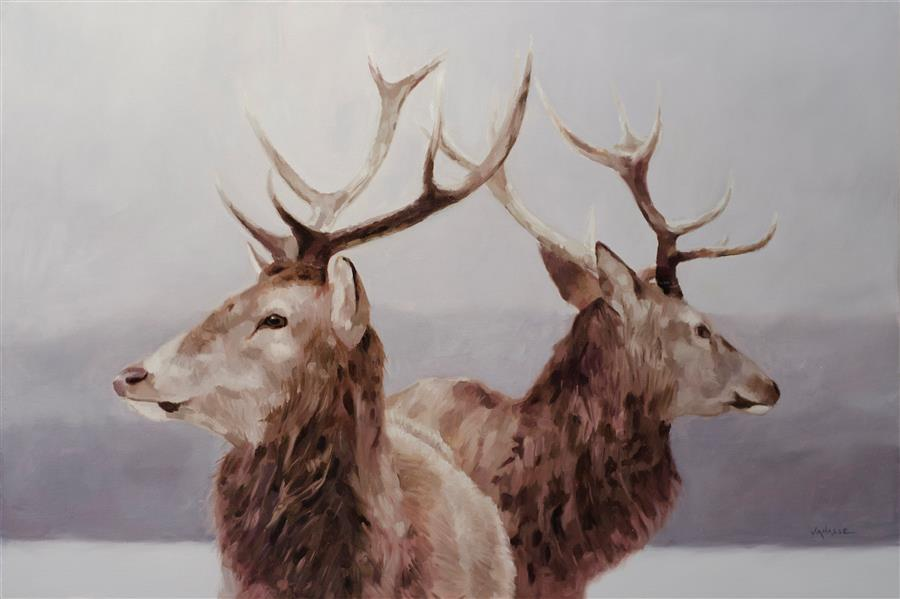 Original art for sale at UGallery.com | Winter Deers by ERIC VANASSE | $1,375 | Oil painting | 24' h x 36' w | http://www.ugallery.com/oil-painting-winter-deers