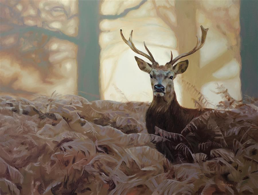 Original art for sale at UGallery.com | Woodland Encounter by ERIC VANASSE | $2,625 | Oil painting | 30' h x 40' w | http://www.ugallery.com/oil-painting-woodland-encounter