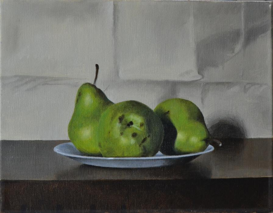 Original art for sale at UGallery.com | Pears by CHRISTOPHER GARVEY | $650 | Oil painting | 11' h x 14' w | http://www.ugallery.com/oil-painting-pears-44257