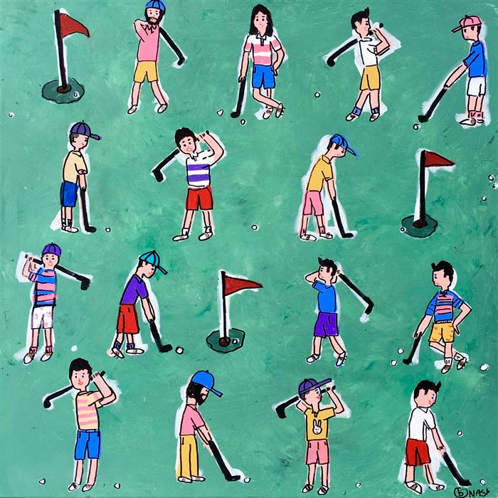 Discover Original Art by Brian Nash | Golfers acrylic painting | Art for Sale Online at UGallery