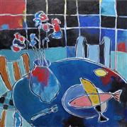 Impressionism art,Still Life art,Representational art,Modern  art,acrylic painting,Pink and Yellow Fish