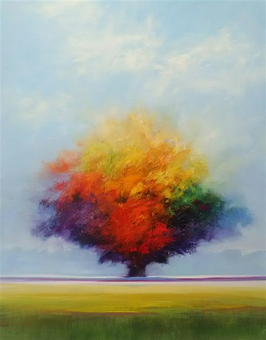 Original art for sale at UGallery.com | Awesome Tree by GEORGE PEEBLES | $3,025 | Oil painting | 60' h x 48' w | http://www.ugallery.com/oil-painting-awesome-tree