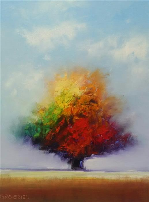 Original art for sale at UGallery.com | Tree of Colors by GEORGE PEEBLES | $750 | Oil painting | 28' h x 22' w | http://www.ugallery.com/oil-painting-tree-of-colors